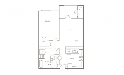 A2 - 1 bedroom floorplan layout with 1 bath and 691 square feet