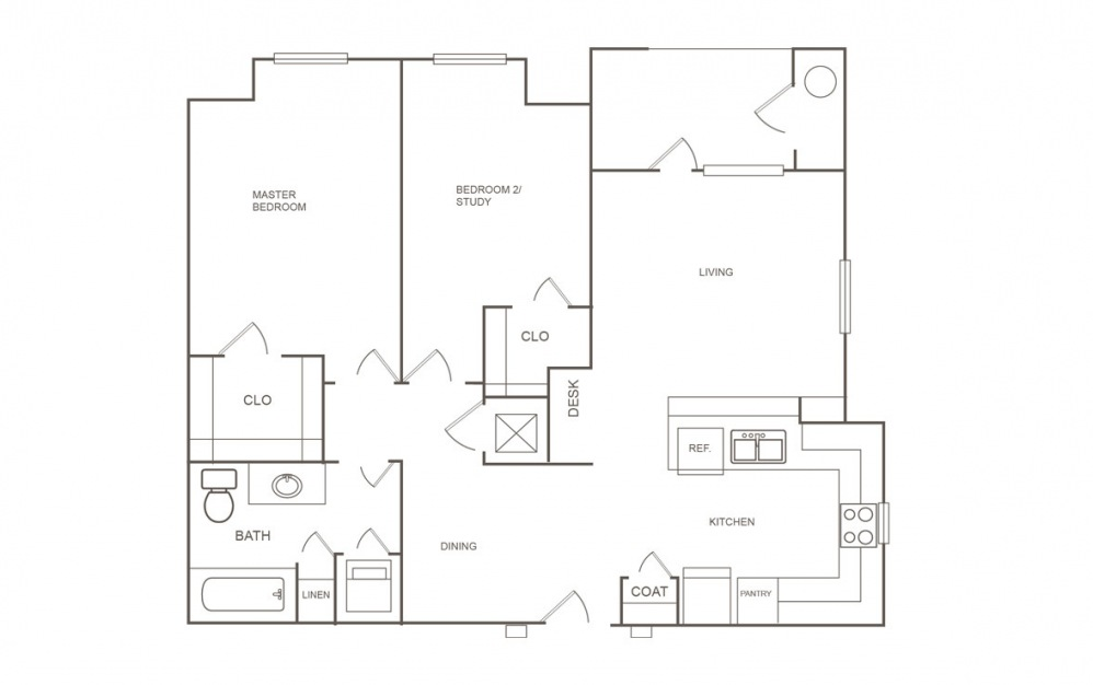 B1 - 2 bedroom floorplan layout with 1 bath and 872 square feet (1st floor 2D)