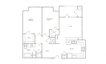 B1 - 2 bedroom floorplan layout with 1 bath and 872 square feet