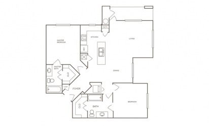 B2 - 2 bedroom floorplan layout with 2 bath and 1186 square feet